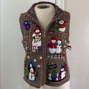 Ugly Christmas Sweater Vest snowmen embroidered